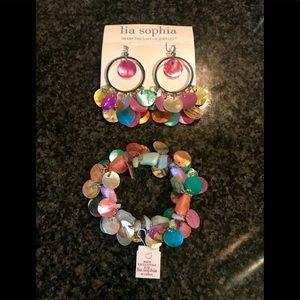 Lia Sophia colorful shells earrings & bracelet